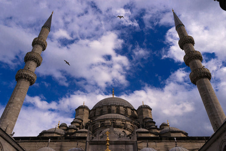 Low angle view of blue mosque against sky