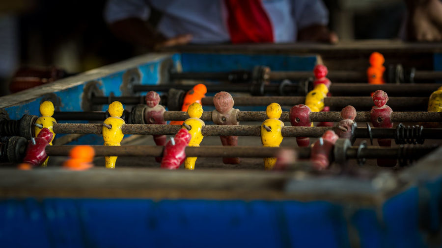 Close-up of abandoned foosball table