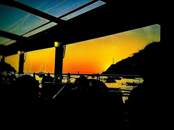 Great View from this Resturant SunsetSilhouetteIndoors DarkSkyOutline