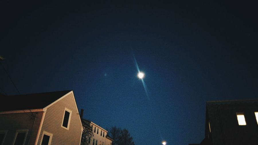Moontime~ Night Low Angle View Building Exterior Architecture Built Structure EyeEm Selects Walking Around Town My Point Of View Illuminated No People Sky Mycity Moon Evening Happiness Colors Of Life Inspiration Outdoors In Portland Maine,USA