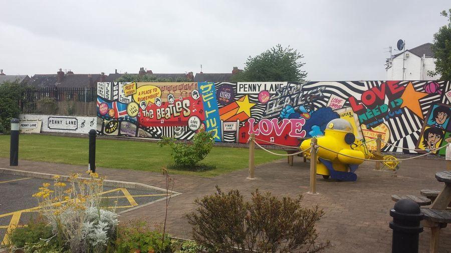 Beatles Grafiti Art John Lennon Outdoors Paul Mccartney Penny Lane  Ringo Starr Yellow Colour Your Horizn