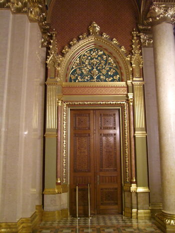 Ornate Doorway in Hungarian Houses of Parliament, Neo-Gothic Style (designed by Imre Steindl, built 1885 - 1862) Budapest Composition Hungary Parliament Building Tourist Attraction  Architecture Built Structure Capital City Door Doorway Full Frame Gold Colored History Houses Of Parliament Illuminated Indoor Photography Neo Gothic Architecture No People Ornate Ornate Design Ornate Door Parliament Tourism Travel Destination