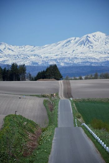 Snowmountains Potato Patch Up-and-down Road Spring Scenic Spots Viewpoint Landscape Nature Asahikawa Hokkaido,Japan