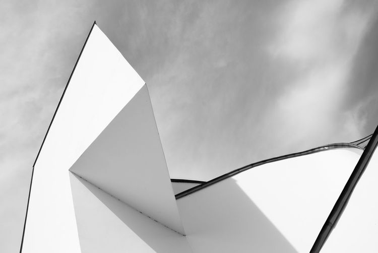 Geometric architecture Architecture Architecture_collection VDM Architectural Column Architectural Detail Architecture Arts Culture And Entertainment Blackandwhite Bnw Bnw_collection Built Structure Close-up Cloud - Sky Day Design Geometric Shape Low Angle View No People Shape Single Object Sky Triangle Shape Vitra White Color