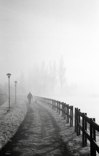Rear view of person walking on pier during winter