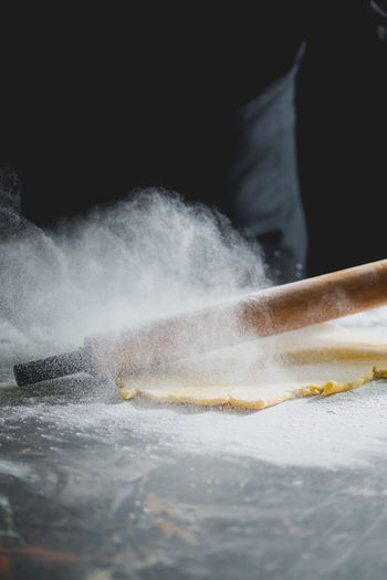 making pastry Cake Chef Cream Dessert Desserts Egg Flour Hands Knead Mixture  Pastry Pastrychef Preparation  Preparing Food Rolling Pin Sweet Working
