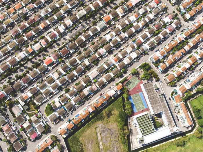 Aerial View Architecture Building Building Exterior Built Structure City Cityscape Community Day Full Frame High Angle View House Nature No People Outdoors Plant Residential District Roof Street Suburb