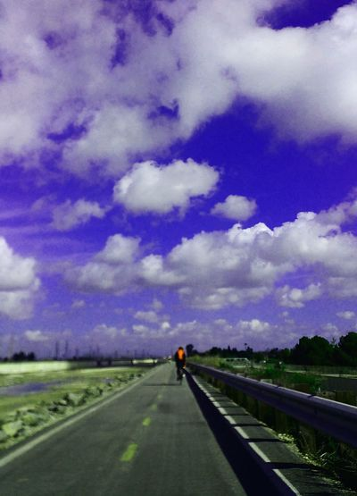 Road The Way Forward Transportation Cloud - Sky Sky Travel Outdoors Landscape Beauty In Nature Scenics Sharpen Applicators Riverbed God Is Great. Prayertime Motion Bicyclist Santaanariverbed Day Tranquility Saturation