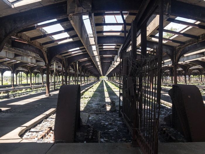 Transportation Rail Transportation Sunlight Abandoned Built Structure No People Indoors  Day Railroad Track Shadow Architecture Roof