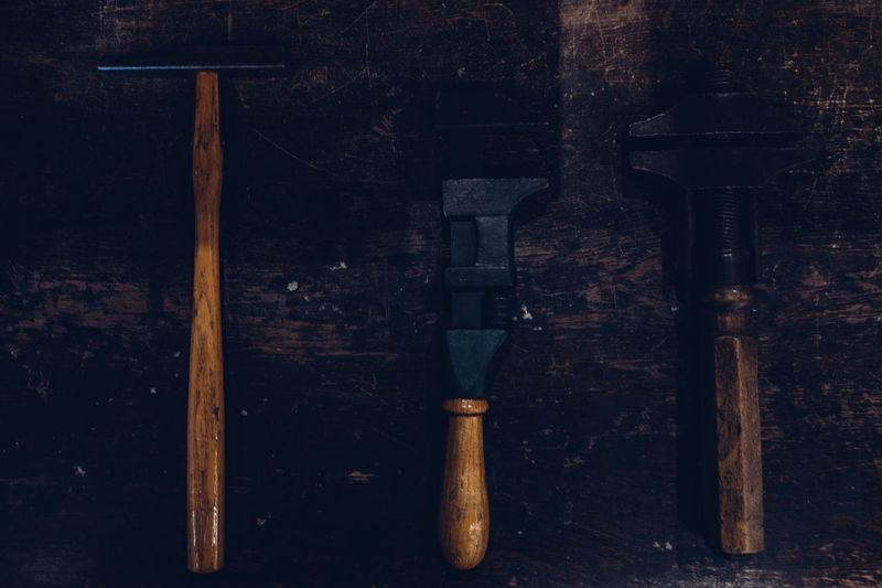 Vintage working tools The Right Tool For The Job  Right Tools For A Job Hand Tool Wood And Iron Wooden Tools Wooden Hand Tool Tools Vintage Tools Workshop Vintage Workshop Old Hammer Metal Still Life Side By Side High Angle View Directly Above Rusty