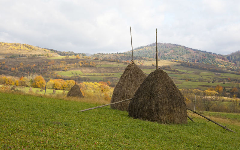 Two hay stacks in green field over autumn day mountain landscape Agriculture Autumn Beauty In Nature Colors Day Farming Field Green Hay Haystack Landscape Mountain Mow Nature No People Orange Color Outdoors Rick Rural Rural Scene Scenics Season  Sky Stack Straw