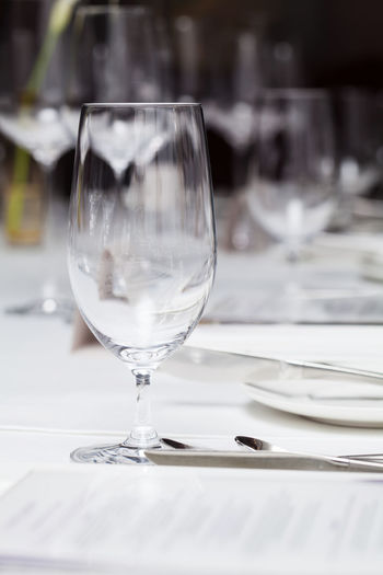 Glass of wineglass on table in restaurant