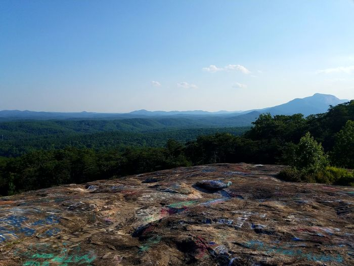 Top Of The Mountain Graffiti Art In Nature Adventure Hello World Mountains Summertime Go Outside Appalachian Mountains Enjoying Life Earth Eyeem Market South Carolina Feel The Journey Landscapes Gs7 Galaxy S7 The Great Outdoors - 2017 EyeEm Awards Lost In The Landscape