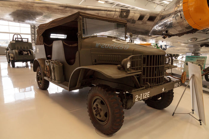 Santa Ana, CA, USA - January 21, 2017: Army Green 1941 Dodge half-ton command and reconnaissance truck displayed at the Lyon Air Museum in Santa Ana, California, United States. It was used during World War II. Editorial use only. Business Finance And Industry Day Dodge Dodge Half-ton Indoors  Lyon Air Museum Military Military Truck No People World War 2