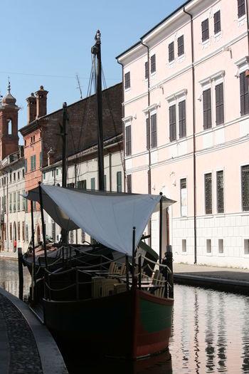 Bella Italia CanalSide Comacchio Italia Architecture Boat Canal Canals And Waterways Comacchiocity Italy Nautical Vessel Old Buildings Po Delta