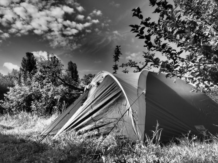 Tent on field by trees against sky