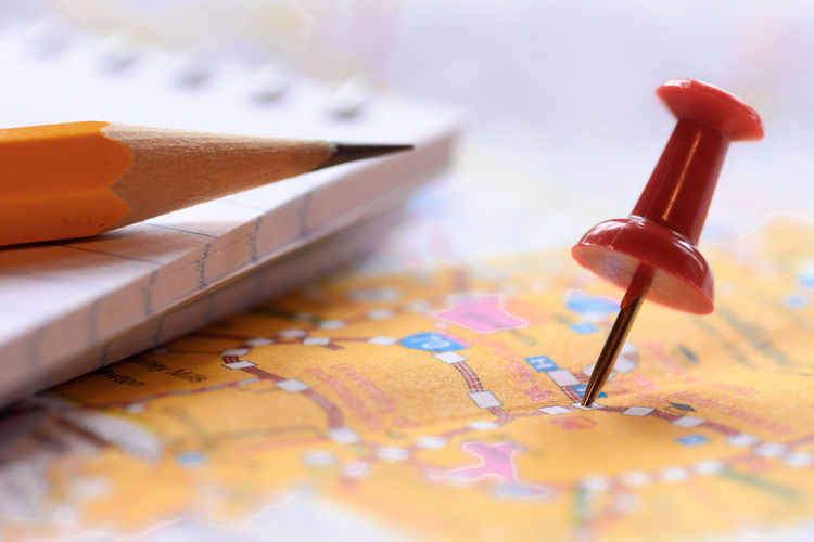 image of red straight pin with travel map background./ with copy space.macro style.soft focus City Famous Horizontal Icon Map Travel Traveling Vacations Arranging Background Cartography Close Up Destinations Direction Inspiration Macro Nobody Object Physical Searching Straight Pin Style Thumbtack Topography Toy