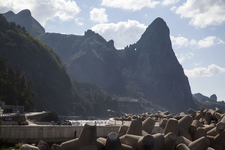 Tetrapods And Rocky Mountain Against Sky At Ulleungdo