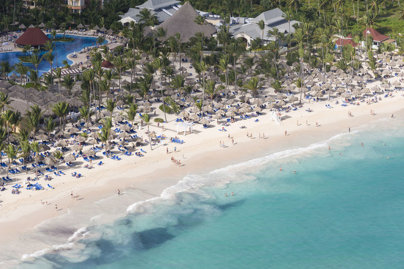 Aerial view of beach on sunny day at Punta Cana