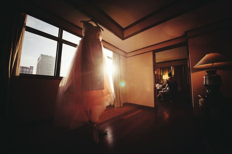 Window Indoors  Architecture Built Structure Sunbeam Home Interior Sunlight Lens Flare Building Exterior Obsolete Streaming No People Dress Silkdress Bride Dress Wedding Day Wedding Photography Wedding Bride Thaisilk Night Thai Silk