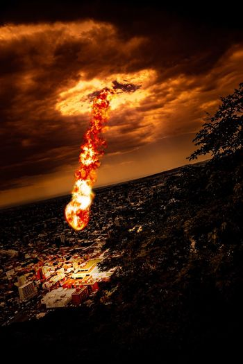 Wrath of the Black Mage - A Surviving Witness Sunset Sky Orange Color Nature Cloud - Sky Illuminated The Creative - 2018 EyeEm Awards Motion Night Burning Flame Fire Glowing Outdoors City Land
