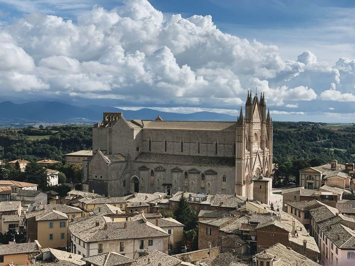 Cathedral of Orvieto Skyline Urban Monument Outdoors Architecture Medieval View Santa Maria Cathedral Tower Orvieto Italy Building Exterior Built Structure Sky Cloud - Sky Building Day Nature No People City Outdoors Sunlight Travel Destinations Cityscape Travel History Tourism The Past High Angle View