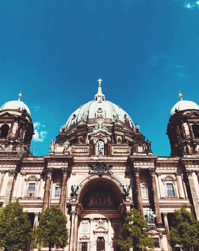 Berliner Dom on the famous Museumsinsel Architecture Berlin Blue Sky Architecture Building Exterior Sky Dome Building Religion Travel Destinations Low Angle View Place Of Worship Spirituality Day Nature History Outdoors No People Travel Blue
