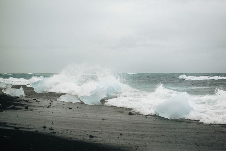Iceland Black Sand Beach Diamond Beach Ice Force Crash Wave Water Power In Nature Sea Beach Motion Sand Breaking
