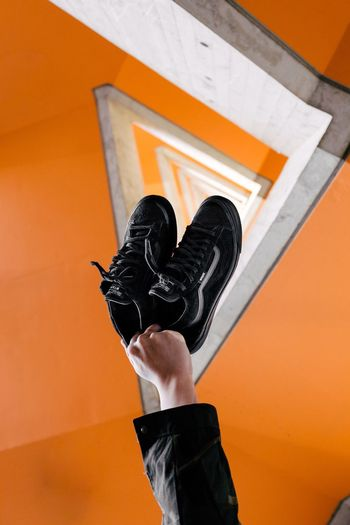 Out Of The Box Shoe Low Section Orange Color One Person Human Leg Black Color Human Body Part Real People Outdoors Day Architecture Close-up Human Hand People Sneakers Vans