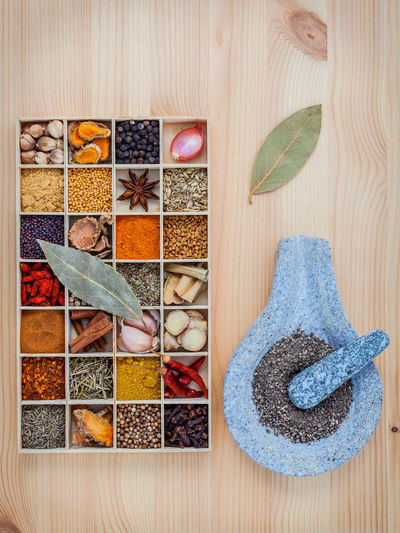 Directly above shot of colorful spices in container on wooden table