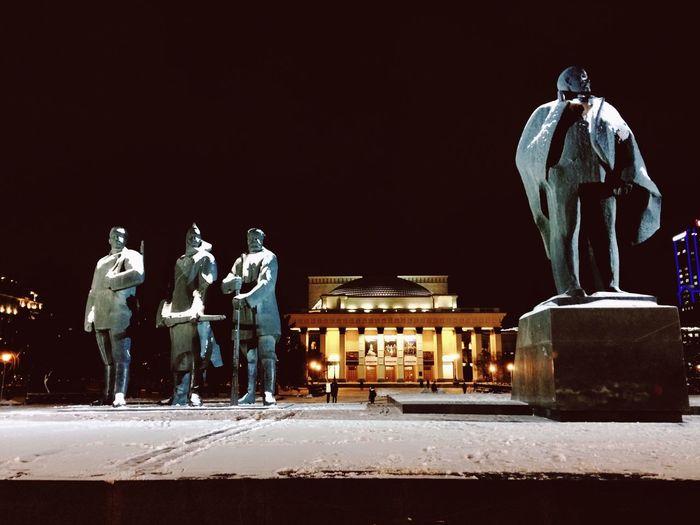 Statue at night