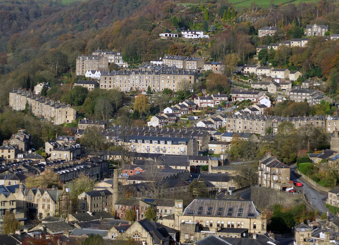 aerial view of hebden bridge in west yorkshire Hebden Bridge Architecture Building Exterior Built Structure Cityscape Day High Angle View Nature No People Outdoors Town Tree
