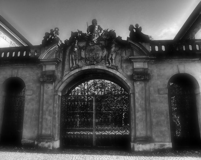 garden gate Arch Architecture Back Yard Black & White Black And White Blackandwhite Building Exterior Built Structure Day Entrance Front Door Garden Gate Horizontal Main Entrance No People Outdoors Sculpture Sky Statue Tree