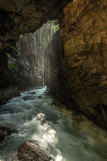 Water flowing in cave
