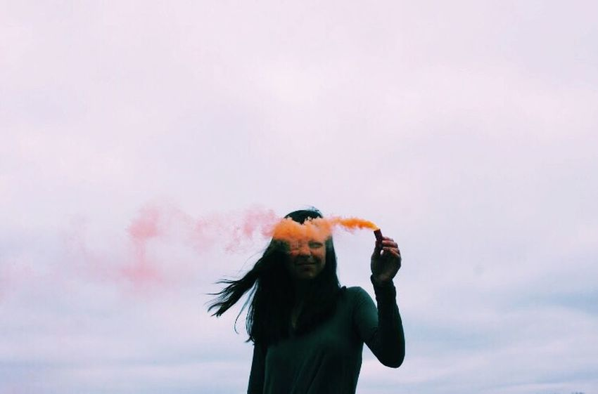 Low Angle View Copy Space Sky Outdoors Lifestyles One Person Day Nature People Smoke Smoke Bomb Orange One Person Only
