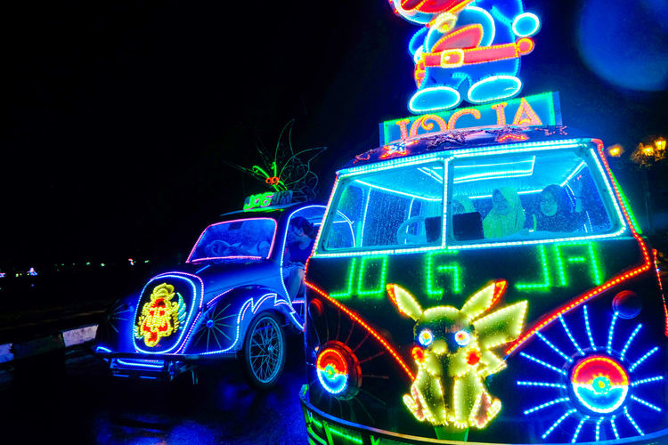 Illuminated Night Multi Colored No People Christmas Lights Christmas Decoration Christmas Decoration Celebration Text Mode Of Transportation Lighting Equipment Neon Holiday Representation Car Glowing Tree Motor Vehicle Western Script Christmas Ornament Alkid Yogyakarta INDONESIA Nightphotography