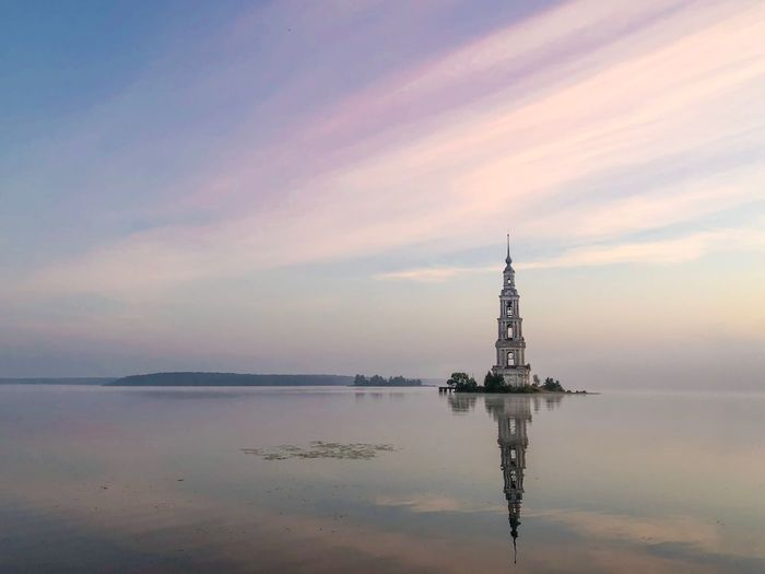 Reflection of bell tower in river at kalyazin