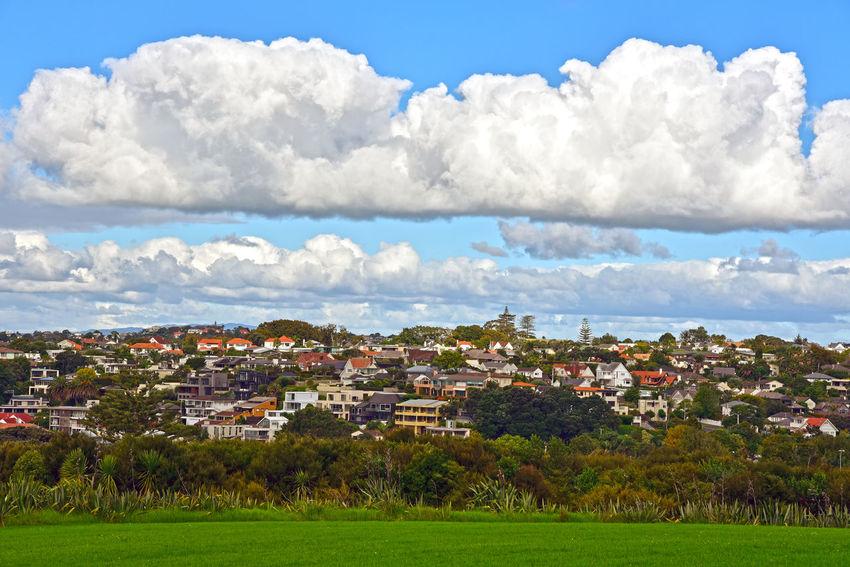 Suburbs in Auckland New Zealand Auckland City Grass Clouds House Neighborhood New Zealand