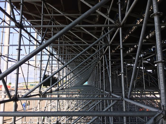Grandstand at Silverstone BritishGP Motogp Silverstone Triangles Scaffolding Grandstand Built Structure Architecture Metal Building Exterior No People Low Angle View Day Outdoors Bridge - Man Made Structure Pattern Girder
