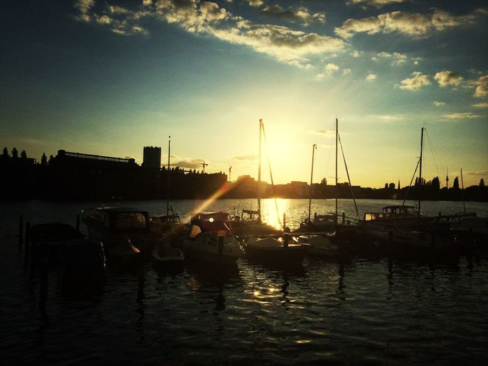 Sunset at Berlin Spree with Boats