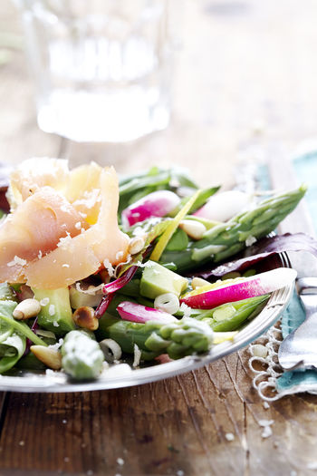 Close-up of salad in plate on table