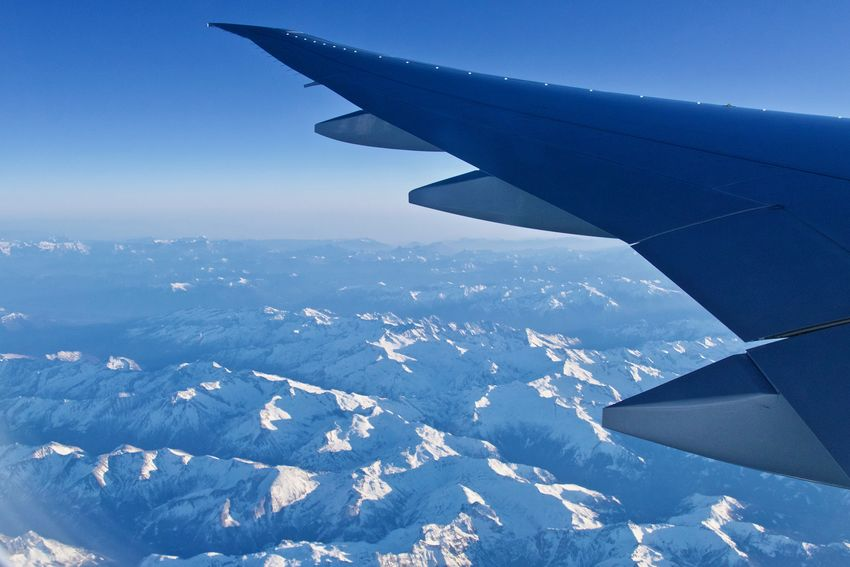viewing the austrian alps out of the aircrafts window Aerial View Air Vehicle Aircraft Wing Airplane Airplane Wing Austrian Alps Beauty In Nature Journey Mid-air Mode Of Transport Mountain Views No People Sky Transportation Travel View From An Airplane View Into Land Österreichische Alpen überflug Der Alpen Let's Go. Together.