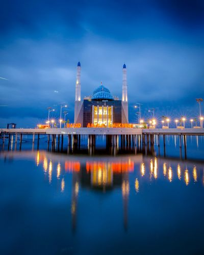 The great Amirul Mukminin Floating mosque at Makassar South Sulawesi, Indonesia Mosque Mosque Architecture Mosques Of The World South Sulawesi INDONESIA Indonesia Photography  Blue Sky Bluesky Bluehour Politics And Government City Water Cityscape Urban Skyline Illuminated Sea Dome Blue Reflection Sunset Tall - High Horizon Over Water Silhouette Spire  Evening Office Building Skyscraper Skyline