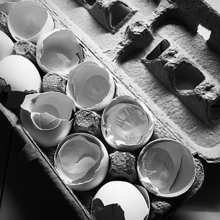 No more eggs Textures and Surfaces Blackandwhite Blackandwhite Monochrome Cooking Egg Carton Eggshell No People Close-up Full Frame Indoors  Backgrounds Day Still Life High Angle View Pattern Large Group Of Objects Shape Arrangement Design Geometric Shape Container
