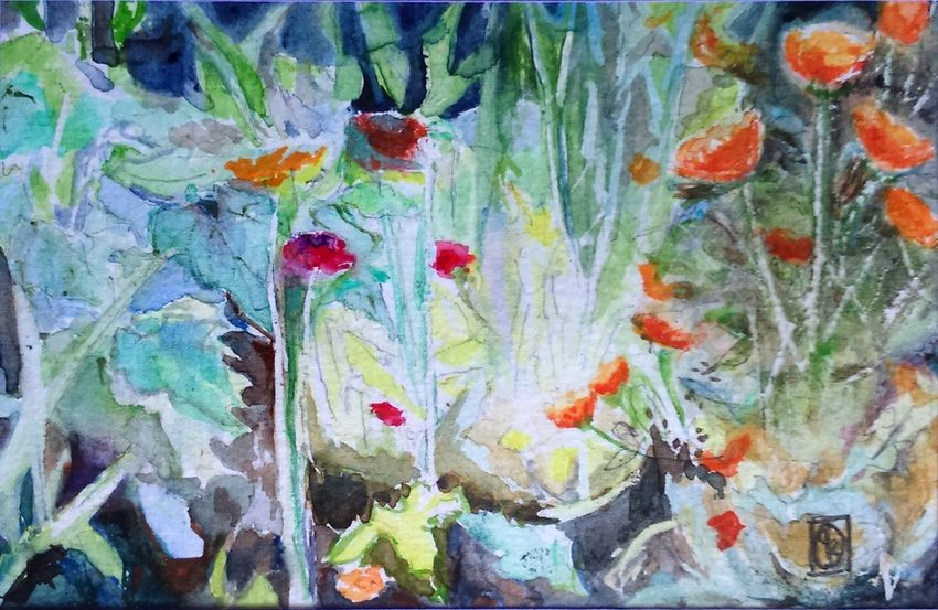One of my latest garden paintings watercolour 6x4inchesf Nature Creativity ArtWork The Purist ( No Edit, No Filter ) I ❤️ Garden