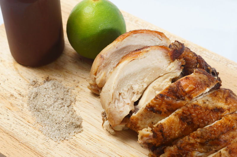 Cantonese Roasted Chicken Chicken Salt And Pepper Cantonese Chicken Chinese Cuisine Close-up Cutting Board Day Food Food And Drink Freshness Grinded Pepper Healthy Eating Indoors  No People Ready-to-eat Roasted Roasted Chicken Still Life Table White Background