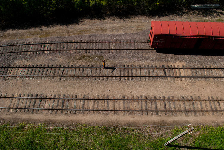 High angle view of freight train on railroad track