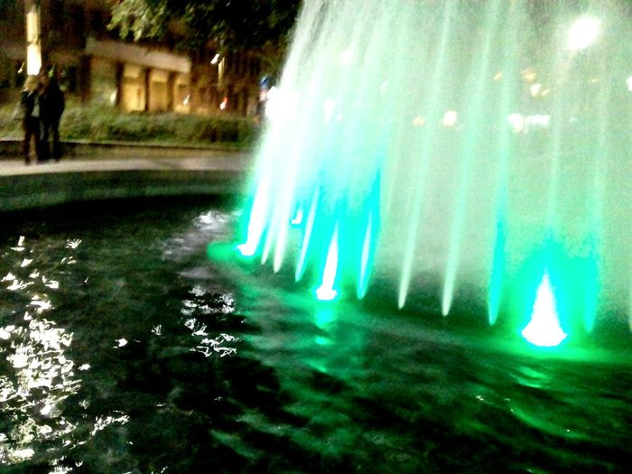 Green Color Water Long Exposure Night Illuminated Outdoors Nature Motion No People Tree Grass Beauty In Nature .