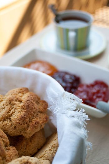 Apricot Breakfast Brunch Close-up Cookies Day Focus On Foreground Food Freshness Indulgence Jam No People Ready-to-eat Rustic Scones Selective Focus Serving Size Still Life Strawberry Tea Teatime Temptation Wildberries