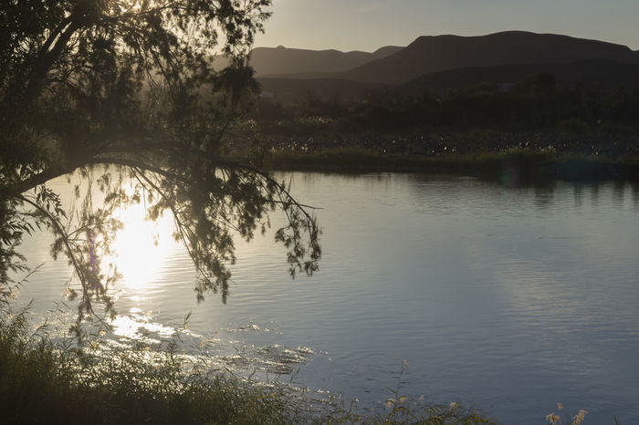Orange River sunset Beauty In Nature Day Lake Landscape Mountain Mountain Range Namibia Namibia Riv Nature No People Orange River Outdoors Reflection Reflection Reflection River River Scenics Sky South Africa South Africa Ri Sun Set River Vie Tree Water
